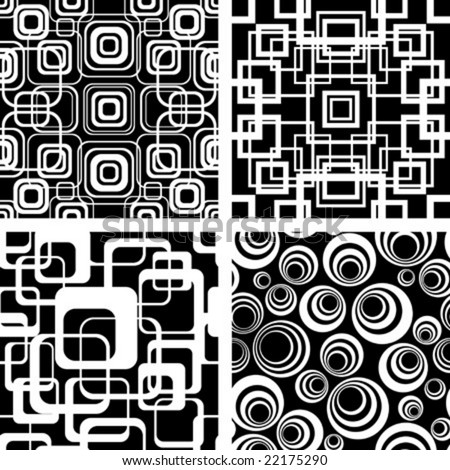 stock vector : Seamless black-and-white retro patterns