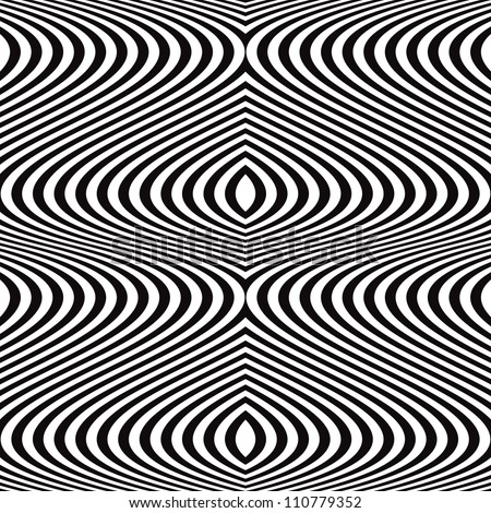 Seamless black and white wavy lines pattern, vector background.