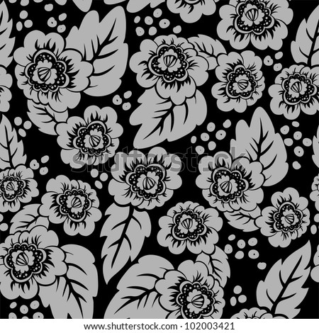 seamless black background with a beautiful gray floral ornaments