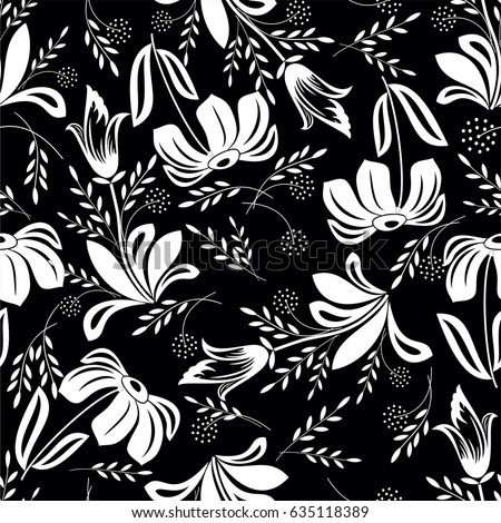 Seamless black background with white flowers and leaves ideal for seamless black background with white flowers and leaves ideal for printing on fabric or paper mightylinksfo