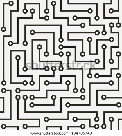 Seamless black electronic pattern. Vector illustration