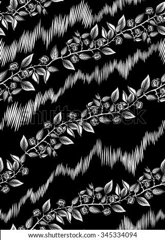 Seamless Black Floral And Tribal Wallpaper