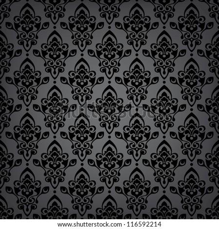 Seamless black luxury pattern/background