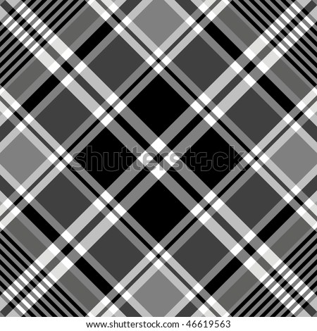 Seamless black-white and grey  tartan pattern (vector, EPS 10)
