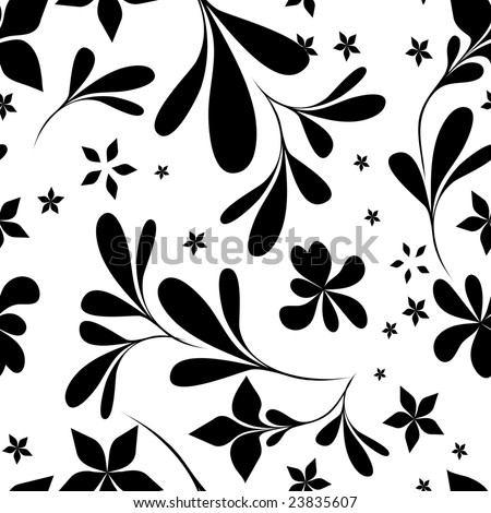 stock vector : seamless black & white flower wallpaper