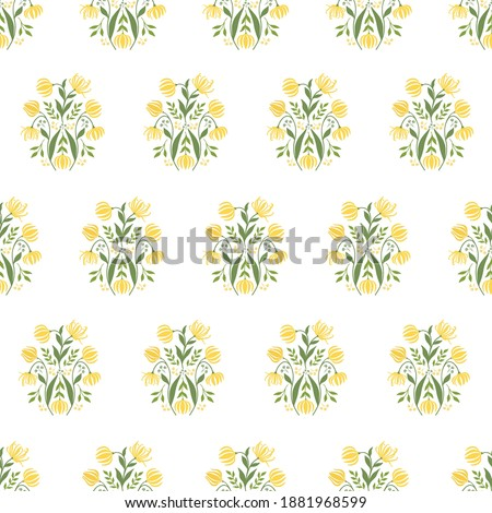 Seamless Block Print Pattern with Ylang-Ylang Flowers, Buds, Branches and Leaves. Stock photo ©