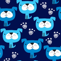 seamless blue dog pattern vector illustration