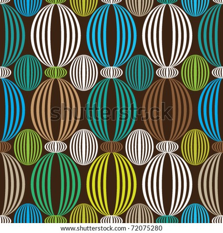 Seamless blue green retro circle pattern background in vector
