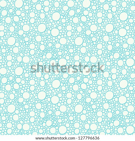 Seamless blue hand-drawn pattern with bubbles. Vector illustration