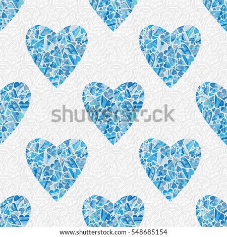 seamless blue heart pattern