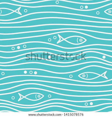 Seamless blue simple pattern with simple fishes and waves. Vector simple marine background. Perfect for wallpaper, texture, cover