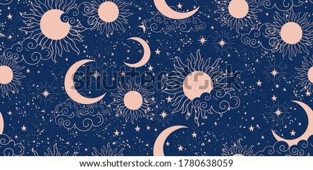 Seamless blue space pattern with sun, crescent and stars on a blue background. Mystical ornament of the night sky for wallpaper, fabric, astrology, fortune telling. Vector illustration