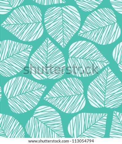 Seamless blue stylized leaf pattern. Vector illustration - stock vector