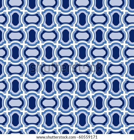 Seamless blue tile vector pattern