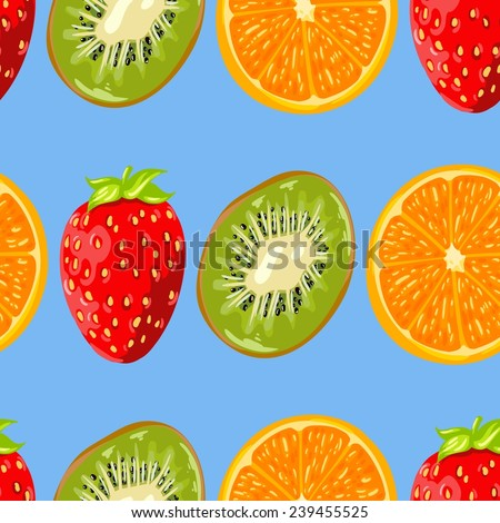 Seamless blue wallpaper with a pattern of juicy fruits and berries. Orange oranges, red strawberries and green kiwi #239455525