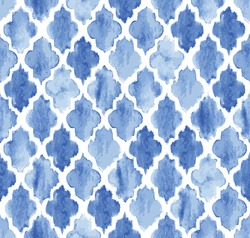 Seamless blue watercolor Moroccan pattern background vector
