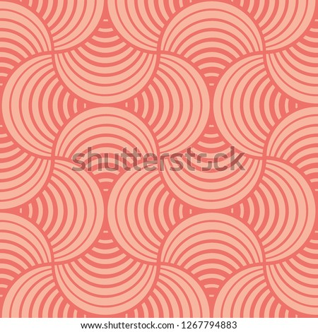 Seamless Bold Abstract Striped Coral Petals Coral Background Two-Tone Vector Pattern