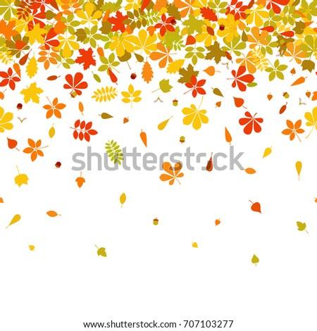 seamless border autumn falling