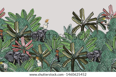 Seamless Border Elephants and Exotic Birds Cockatoo Parrots and Hoopoe in Tropical Jungle Leaves Wildlife Animals in Oriental Asian Forest India Vintage Wallpaper Faded Colors