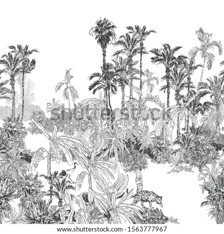 Seamless Border High End Panoramic View Palm Jungle Tropics with Leopard and Heron, Parrot Birds, Hand Drawn Ink Illustration Black and White Lithograph on White Background