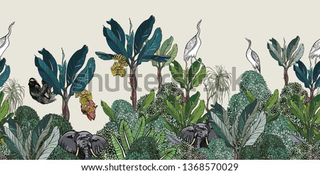 Seamless Border High End Tropical Jungles Exotic plants Sloth, Elephant and Heron Birds in Blue Banana Palms with Bushes India Foto d'archivio ©