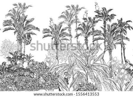 Seamless Border Leopard, Parrots, Hoopoe in Oleander and Hibiscus Flowers Etching Illustration Hand Drawn Graphics Panoramic View with Palm Trees Jungle Tropics on White Background