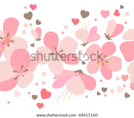 Seamless border made of pink cherry flowers and dots