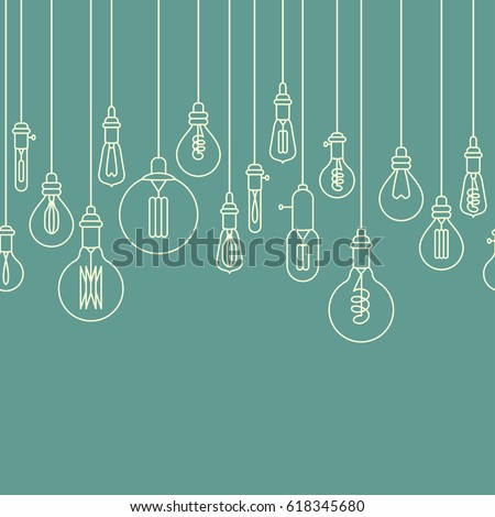 Seamless border made of retro stylized linear electric bulbs