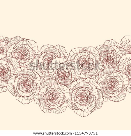 Seamless border made of rose flowers