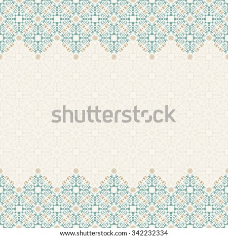 Seamless border vector ornate in Eastern style. Vintage elements for design, place for text. Ornament pattern for wedding invitations birthday greeting cards. Traditional pastel decor blue and gold
