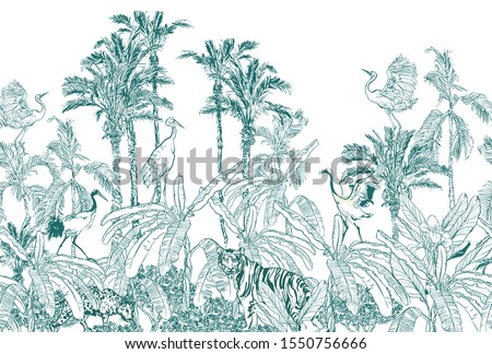 Seamless Border Vintage Lithograph Sketch Drawing Wildlife Leopard, Tiger Animal, Crane Birds in Palm Trees with Banana Leaves Jungle Rainforest Etching Hand Drawn Window Design