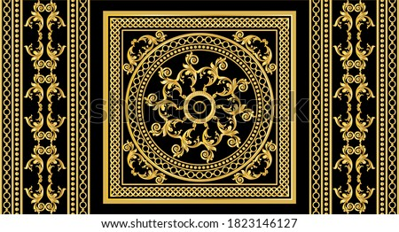 Seamless border with golden baroque elements, chains on a black  background. EPS10 Illustration. Foto stock ©