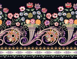seamless border with horn of plenty,with bunch of flowers daisy, roses, branch of mimosas, fruits orange and peach,big and small curls, decorative strip