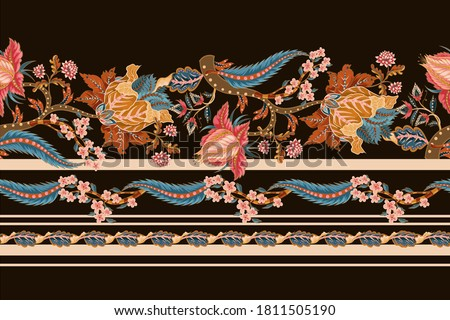 Seamless border with Indian ethnic ornament elements. Folk flowers and leaves for print or embroidery