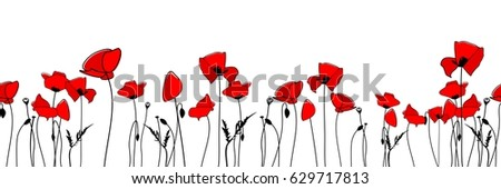 seamless border with poppies