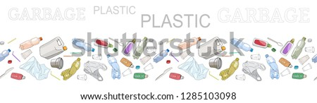 Seamless border with sorted plastic garbage isolated on white. Set of patterns with separate debris. Part 1. Vector hand drawn collection of trash. Concept of Recycles Day, World Cleanu ストックフォト ©