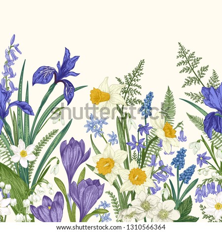 seamless border with spring