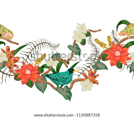 Seamless border with tropical bird, chameleon, plants and flowers. Exotic flora and fauna. Vector illustration in watercolor style