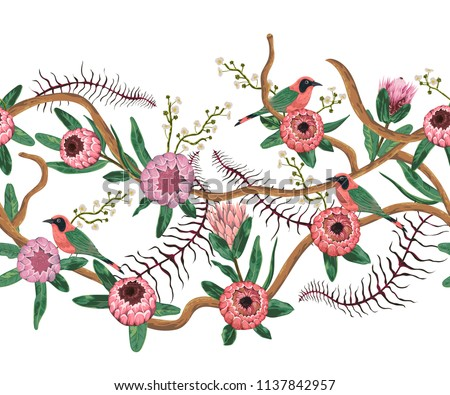 Seamless border with tropical birds, liana, protea flowers and leaves. Exotic flora and fauna. Vector illustration in watercolor style