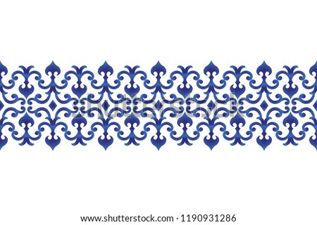 seamless borders abstract ornament Japan and Chinese style, Imitation of porcelain painting, blue and white ceramic decorative line design, vector illustration #1190931286