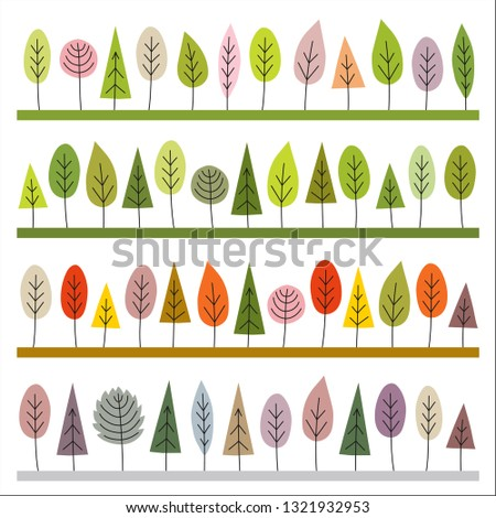 Seamless borders of trees in hand draw style. Repeatable pattern of four seasons: spring, summer, autumn, winter. Brushes included. Vector illustration isolated on white background