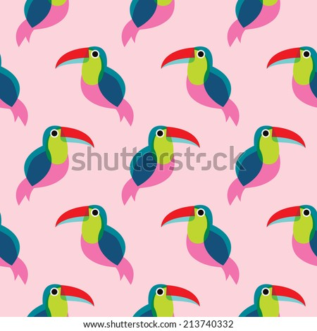 Seamless brazil tucan bird exotic illustration background pattern in vector