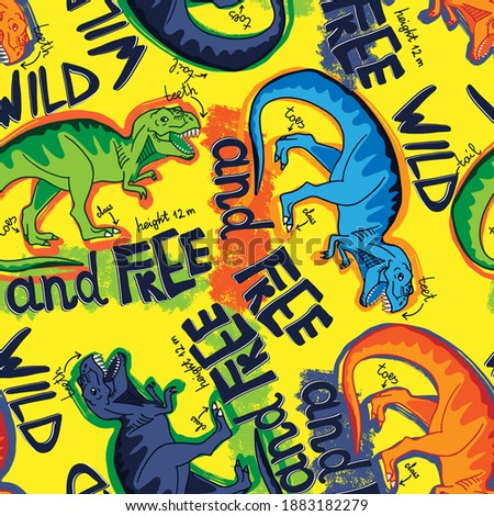 Seamless  Bright Dino pattern, print for T-shirts, textiles, wrapping paper, web. Original design with t-rex, dinosaur.  grunge design for boys and girls