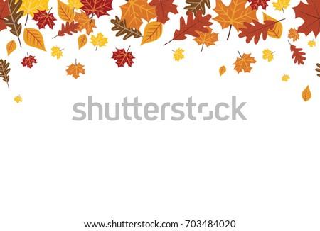 Seamless Bright Fall Autumn Leaves Border 1