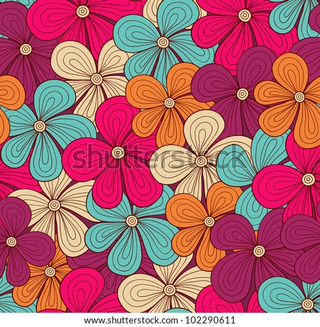 Seamless bright floral pattern. Vector illustration