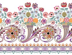 seamless bright pattern with cornucopia, bunch of flowers daisy, roses, branch of mimosas, artichoke bud, fruits orange and peach,yellow paisley, curls,decorative strip