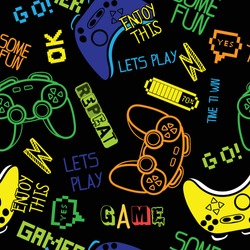 Seamless bright pattern with joysticks. gaming cool print for boys and girls. Suitable for textiles, sportswear, web