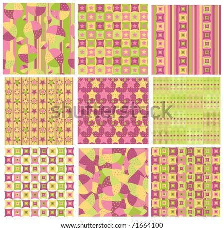 Seamless bright patterns.