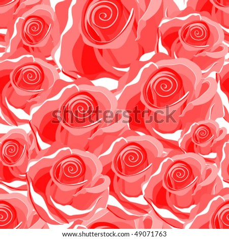 Seamless bright red rose pattern