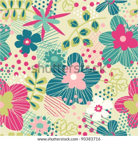 seamless bright spring pattern with abstract background